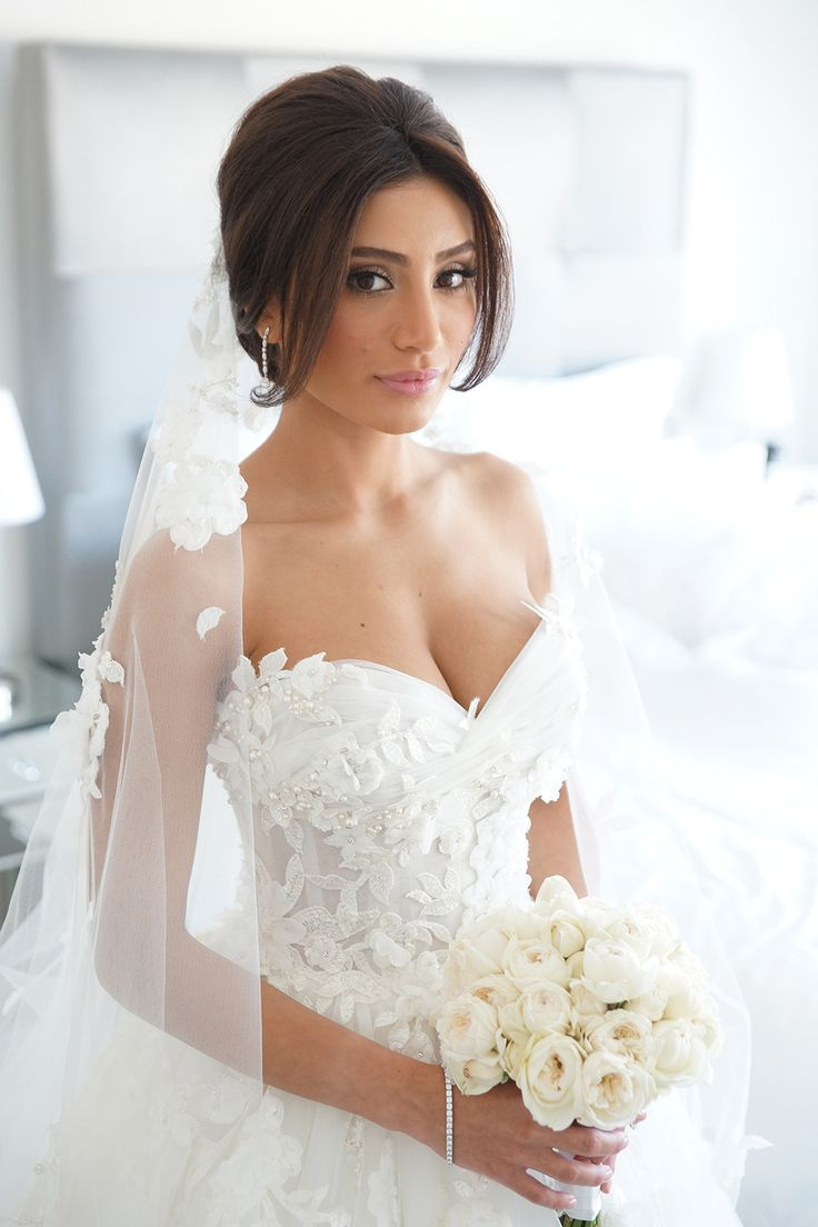 White and Gold Wedding. Sweetheart Corset Ballgown Dress. White and Gold Wedding Veil.