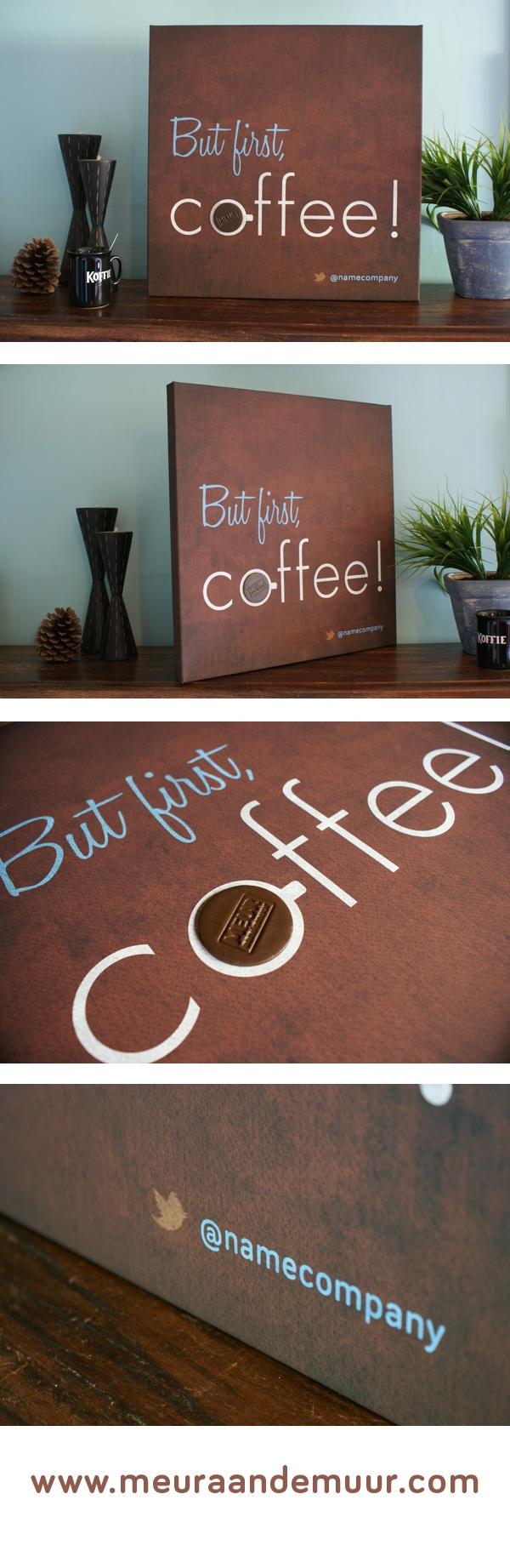 Vers van de pers! | Canvas print met naar koffie geurende was vorm. #handmade