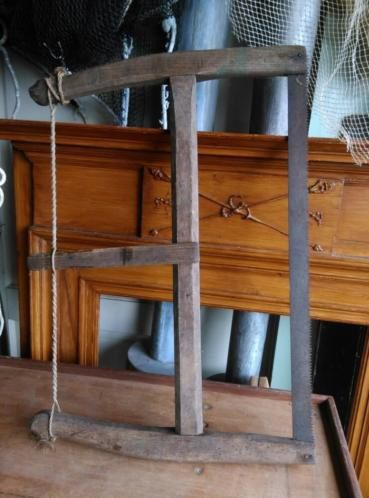 Oude Brocante Antiek Houten Spanzaag