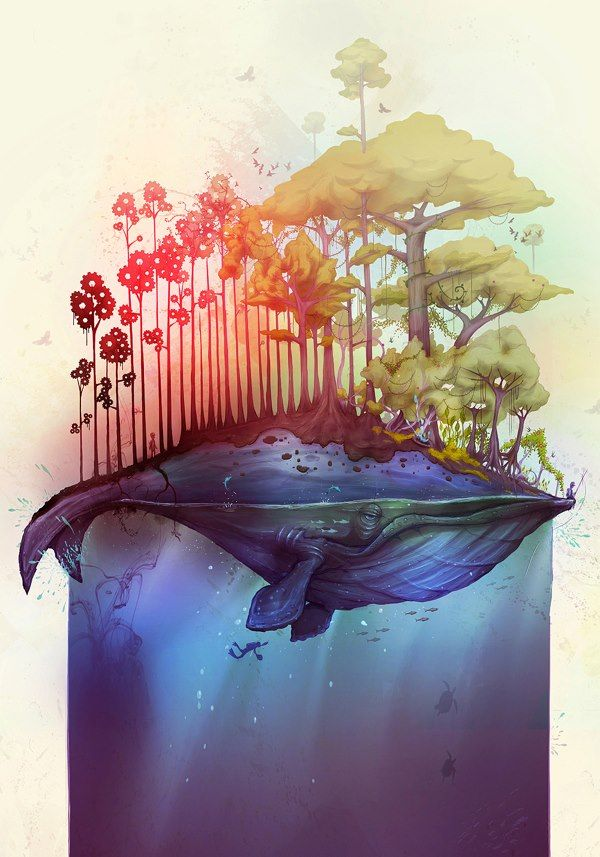 Nature on a Humpback whale :: I love this idea! It incorporates my love for marine life and trees