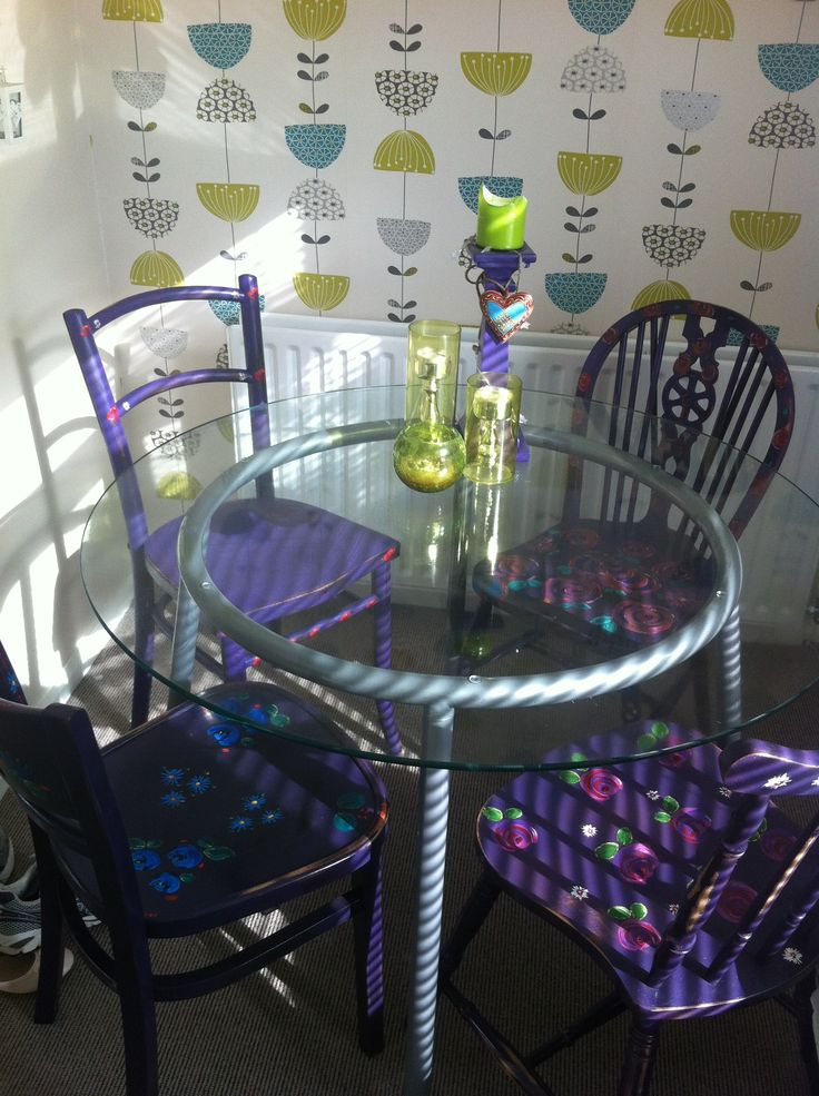 Happy birthday to Jane. Hand painted odd up cycled bohemian chairs