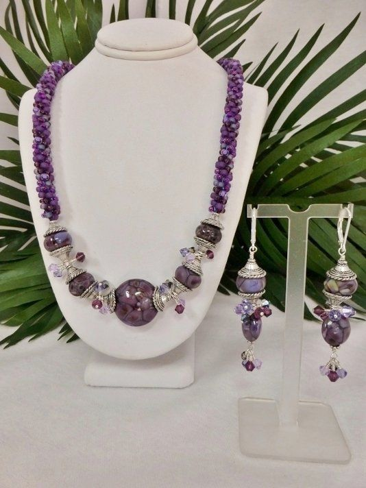 custom made set shades of purple kumihimo necklace with lampwork focal beads u0026 matching earrings