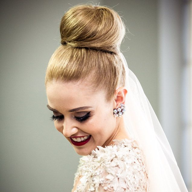 Helen Wore Her Hair In A High Bun With Cathedral Veil For The Ceremony