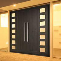 Aluminum Front Door Designs exterior soft blue wooden door with aluminum handle connected by double glass windows with white Double Doors