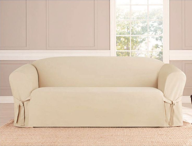 MICRO-SUEDE SLIPCOVER SOFA LOVESEAT CHAIR FURNITURE COVER, TAUPE BLACK BROWN #KashiHome