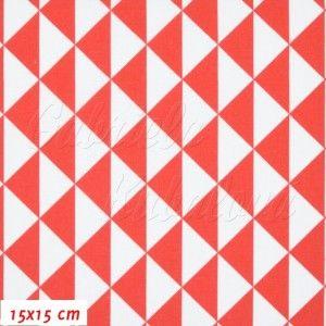 Látka, plátno - Trojúhelníky 3cm bílé a červené, šíře 140 cm, 10 cm