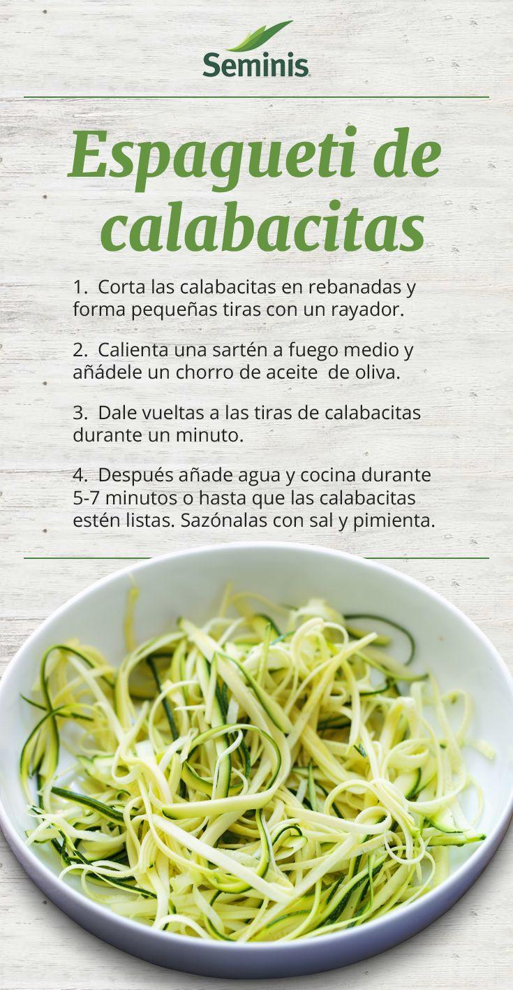 Una alternativa a comer #pasta ¡Sin pasta! Cambia el #espagueti por unas tiras de calabacitas. Ingredientes: 2 calabacitas Aceite de oliva Agua Sal y pimienta. #Receta #Seminis