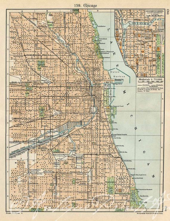 Antique Map Of Chicago My Kinda Town By