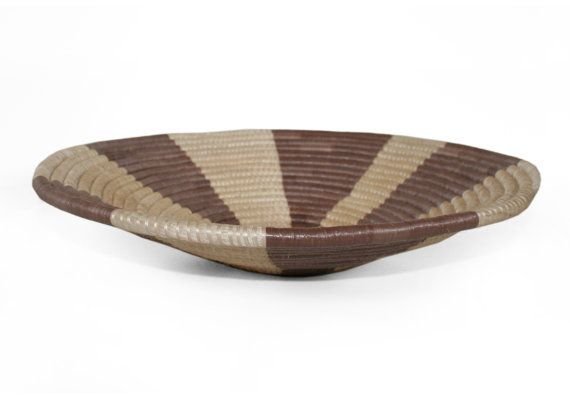 Woven Yarn Basket : Woven basket african yarn bowl rustic home decor coiled