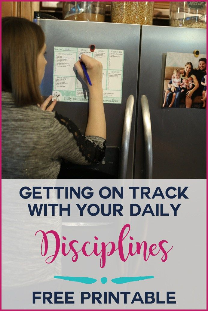 Do you need a little help getting on track with your daily and weekly routines and habits? This free printable is a simple way of getting on track. Download for free here: https://youngwifesguide.com/getting-track-daily-disciplines/