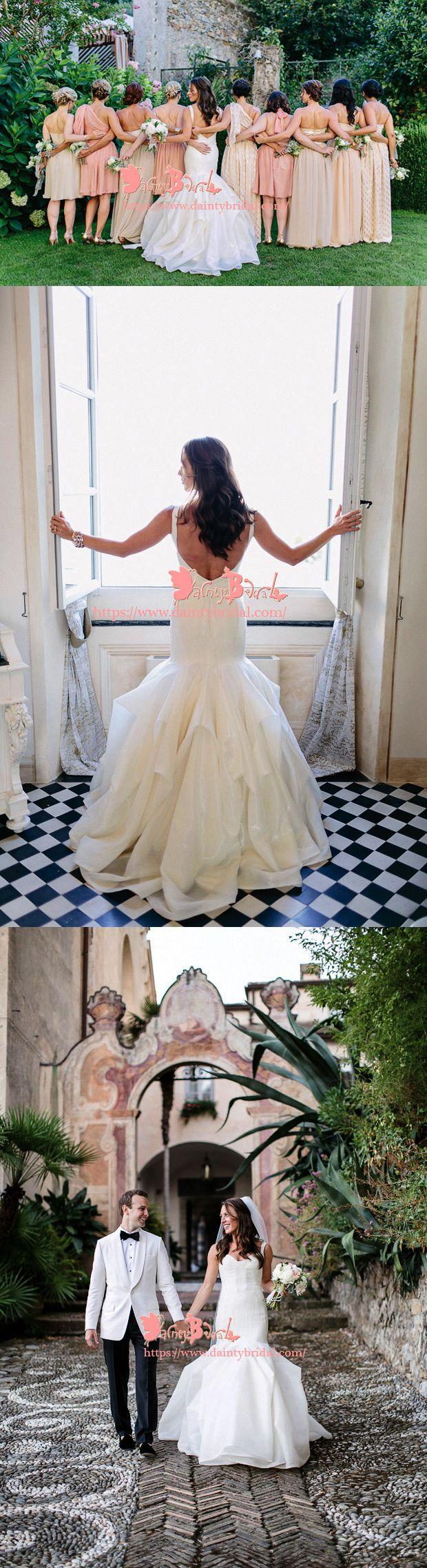 UNIQUE DESIGN OFF WHITE SATIN SPAGHETTI STRAP BACKLESS MERMAID RUFFLES PETAL WEDDING DRESSES,DB0114