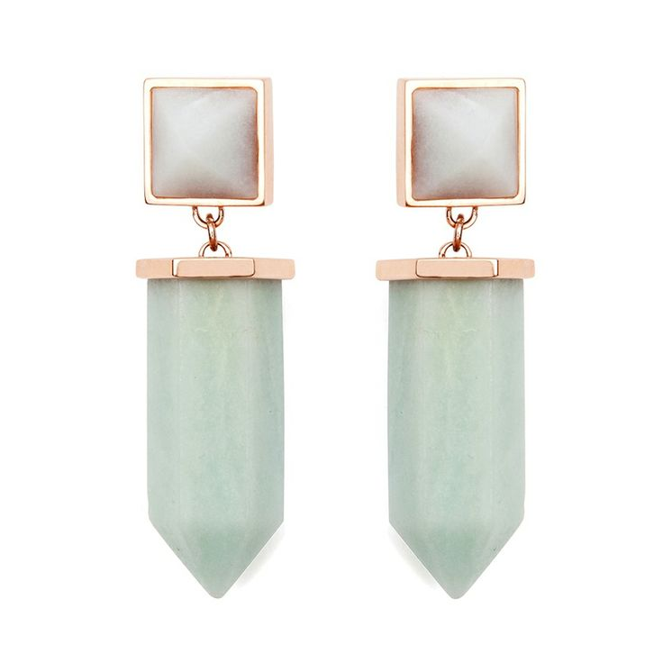 The Estella earrings - $129. Drop, post and back earrings, crafted from stainless steel and coated in 22ct rose gold plating; each with a large hand-cut light green amazonite crystal, suspended from a smaller amazonite inset stone. Lovingly designed by Sydney label Amber Sceats. www.savethelastpinker.com.au/shop/estella-earrings/