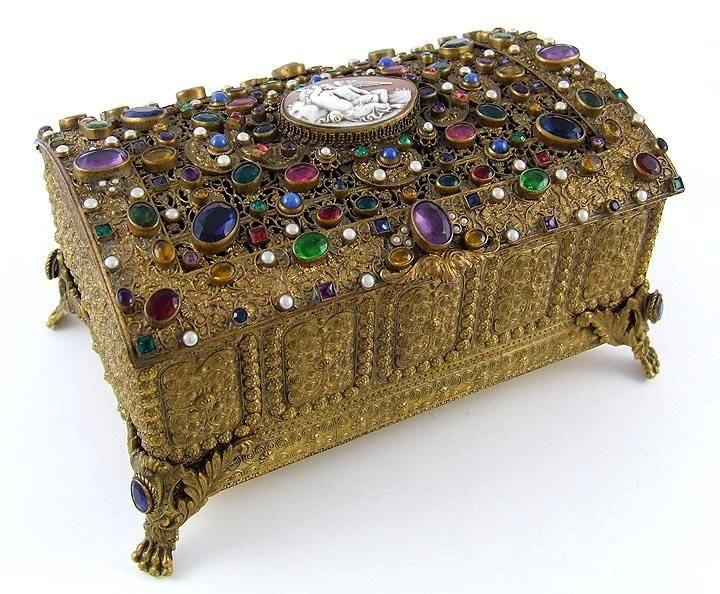 Boxed Antique Austrian Jeweled & Shell Cameo Ormolu Casket