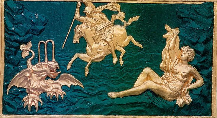 """Барельеф """"Персей, освобождающий Андромеду"""". Большой каскад. Восточная каскадная лестница."""