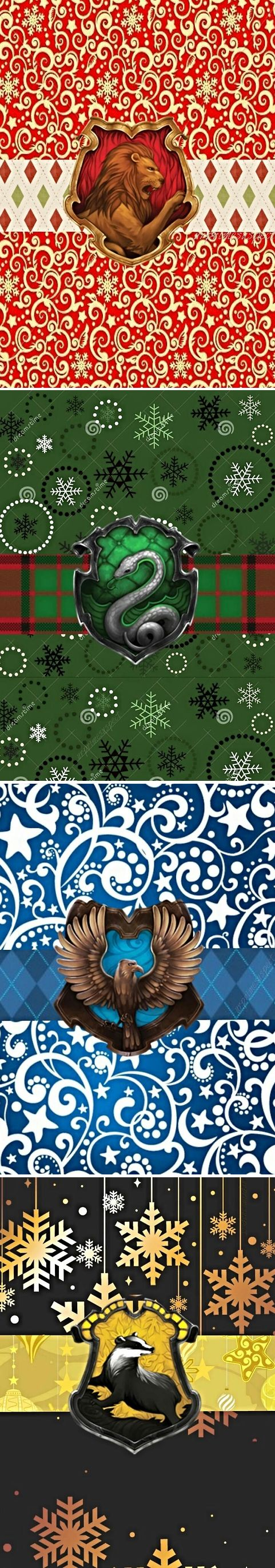 Hogwarts houses + Christmas. Most amazing gift wrap ever. I don't think I would even open the box if I got it wrapped in one of these.