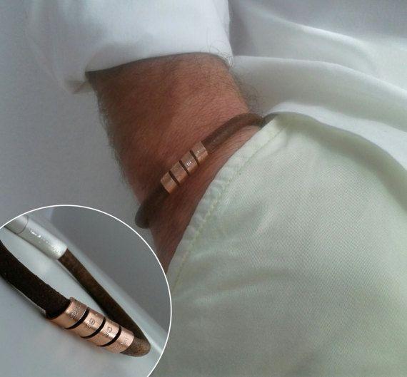 Mens personalized, engraved bracelet, Secret Message, inspirational bracelet, Leather Bracelet, mantra, mens engraved bracelet, Gift for him