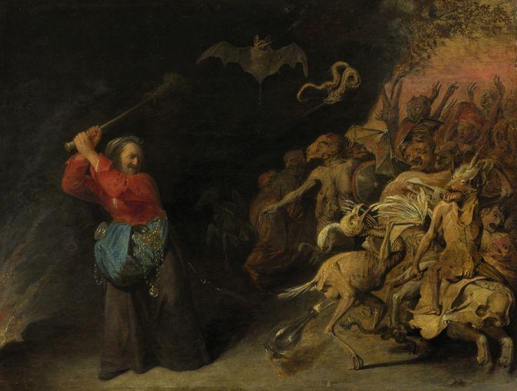 Helleveeg. David Ryckaert III, 1651-1659. Vooral oudere vrouwen worden vaak weergegeven als quaet wyf. Ze worden beschouwd als oud, lelijk, geil, dominant en agressief. Er is in de verbeelding weinig verschil tussen een quaet wyf en een heks. De vrouw in dit schilderij veegt met haar bezem de hel schoon. Het is mogelijk een verwijzing naar het spreekwoord: een roof voor de helle doen. Iets gevaarlijks doen met hoop op winst, zonder angst voor duivel of hel.