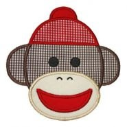 Sock Monkey Face Applique