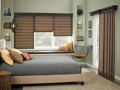 bali woven wood sliding panels bring a sleek and modern look to sliding glass doors and large windows