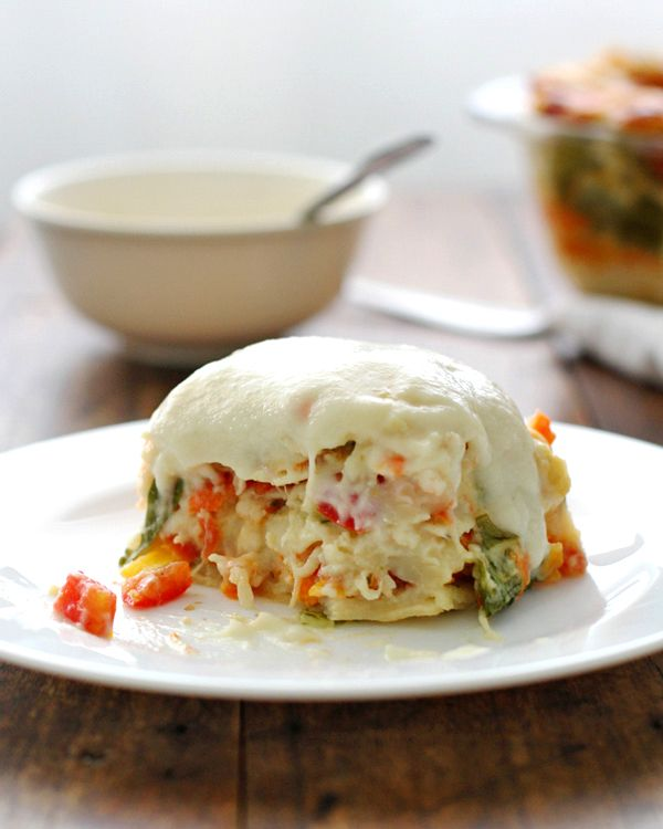 Veggie Alfredo Lasagna made with healthy cauliflower sauce