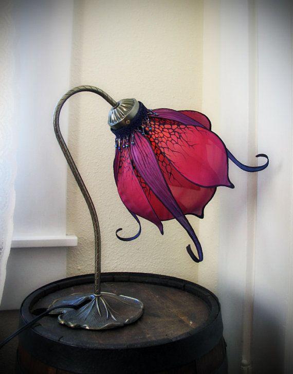 Art Nouveau Silk Lily Lamp by littlewingfaerieart on Etsy, $175.00