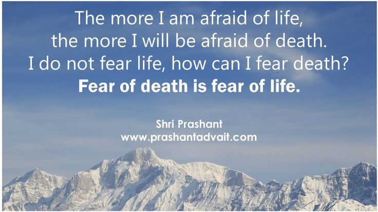 The more I am afraid of life, the more I will be afraid of death. I do not fear life, how can I fear death? Fear of death is fear of life. ~ Shri Prashant #ShriPrashant #Advait #fear #life #death Read at:- prashantadvait.com Watch at:- www.youtube.com/c/ShriPrashant Website:- www.advait.org.in Facebook:- www.facebook.com/prashant.advait LinkedIn:- www.linkedin.com/in/prashantadvait Twitter:- https://twitter.com/Prashant_Advait