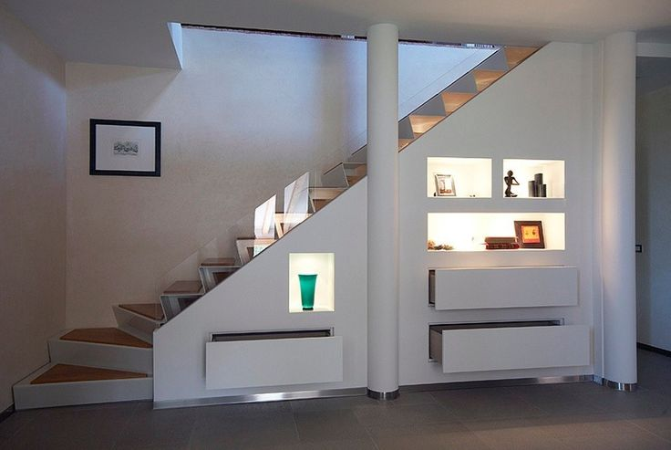 {stairs} under stairs lit shelving and storage