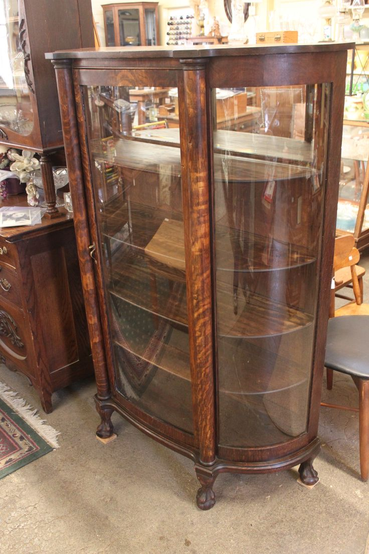 When Should You Refinish an Antique? … two Oak Curved Glass China Display  Cabinets   CABINETS, CUPBOARDS & CHINA CLOSETS ~ WARDROBES♥*¨*•. - When Should You Refinish An Antique? … Two Oak Curved Glass China