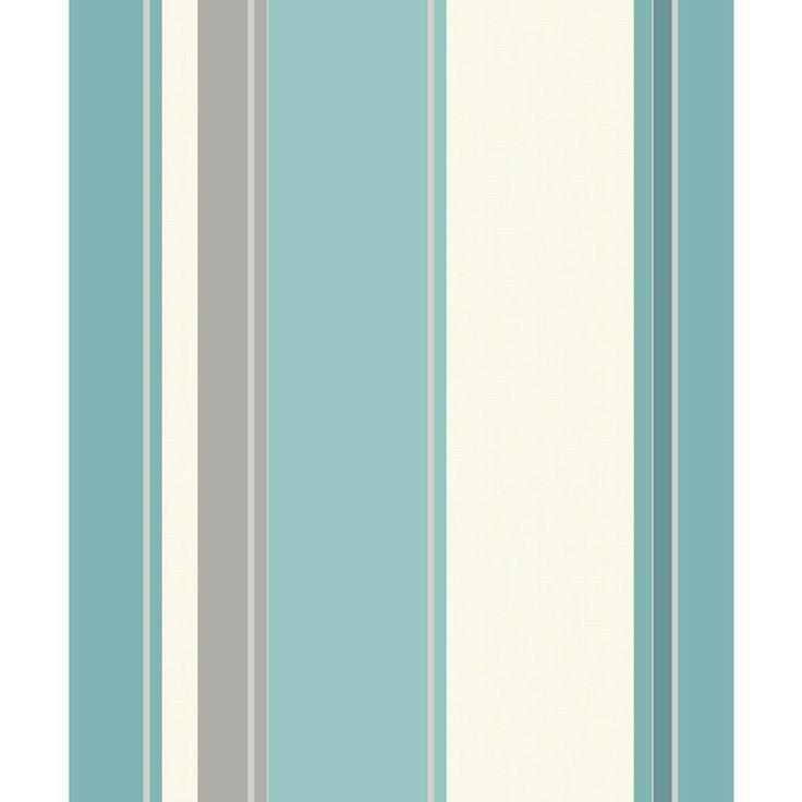 Carina Stripe Teal And Grey Wallpaper
