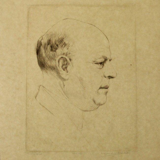 Hermann Struck - Bialik Profile Portrait, Etching, 1935 : Lot 41