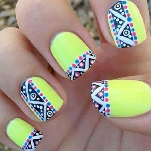 yellow + tribal accents mani