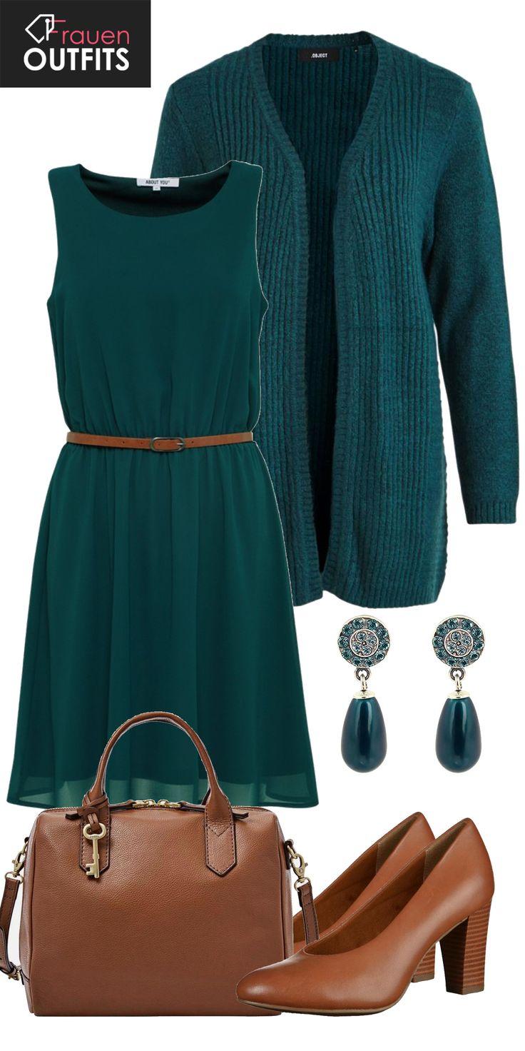 Ein schicker Abendlook aus grünem Kleid von AboutYou, grüner Strickjacke und braunen Tamaris Pumps… #fashion #fashionista #lifestyle #outfit