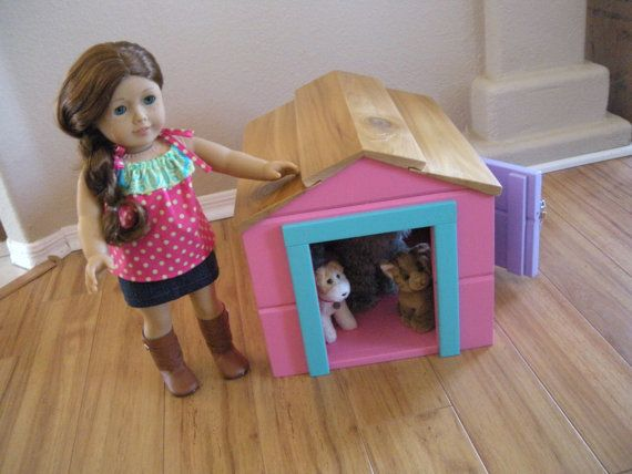 Dog House for American Girl Doll - Pet Bungalow in Rainbow