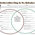 Martin Luther King Jr. Vs. Malcolm X Venn Diagram. Students must research and compare the two civil rights activists using the Venn diagram provide...
