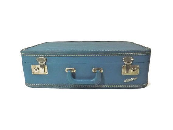 Vintage Blue Suitcase Blue Luggage Carilite by VintagethatsMintage ...