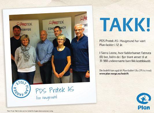 PDS Protek – Plan Fadder i 12 år. Vi blir med Plan Norge Videre!