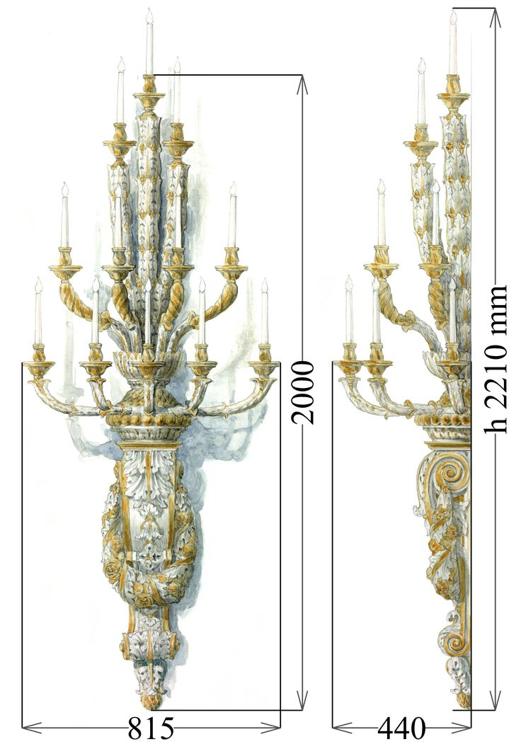 Grand scale, 12-lights wall chandelier, classic style.   Plastic cast, painted and parcel-gilt.   Measurements: Height 2210 x Width 815 x Depth 440 mm. Weight approx. 25 kg. Term of this work is 5 months.  Location: Moscow. 5.800 EUR. Contact: artinform76@gmail.com