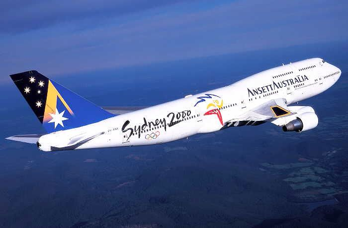 Ansett Australia Boeing 747-412 (VH-ANA) in the 'Starmark' livery with 'Sydney 2000' titles