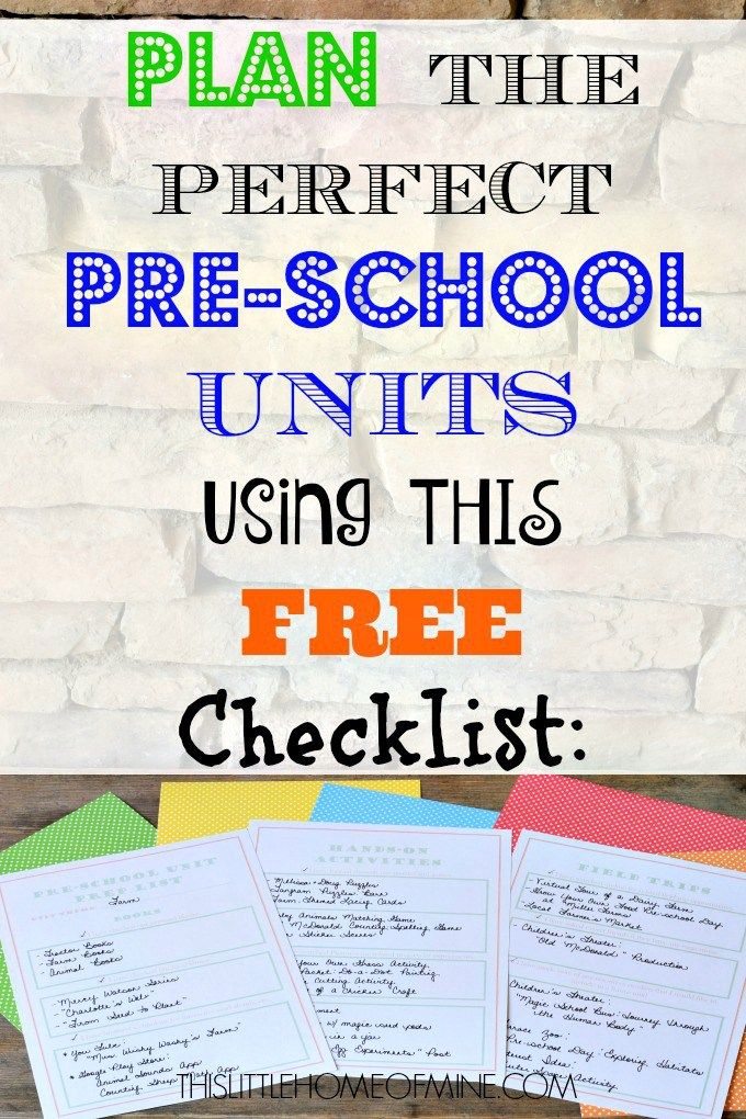 Plan the Perfect Pre-school Units Using This Free Checklist by This Little Home of Mine