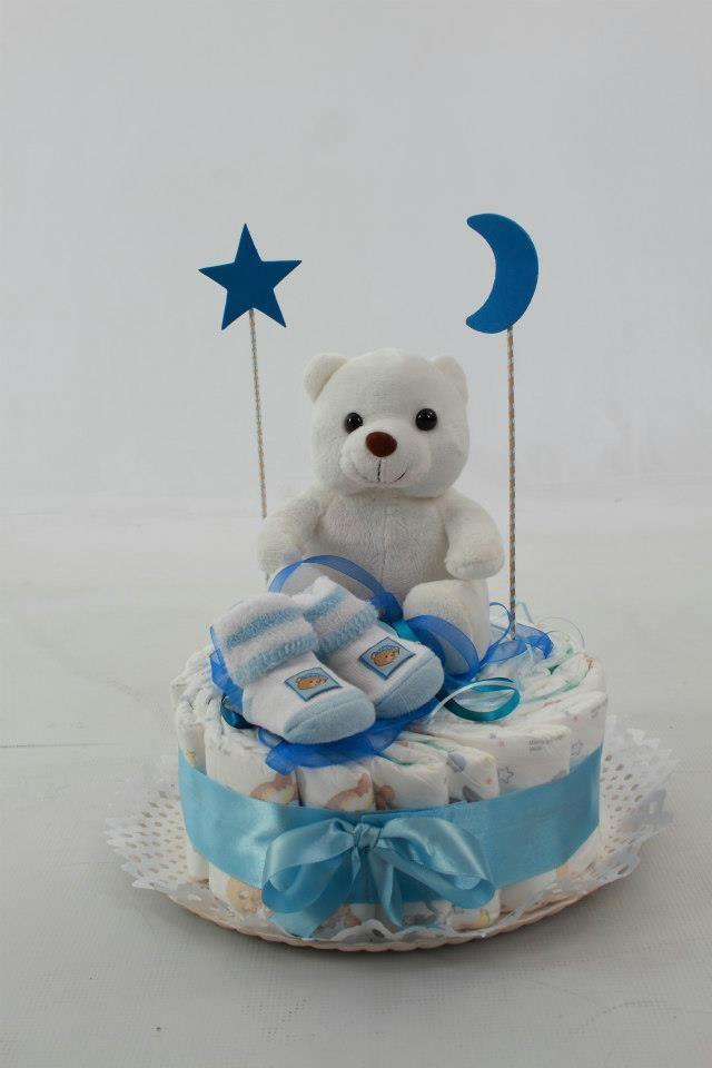 Ideas de tartas de pañales para Baby Shower de niño | Manualidades para Baby Shower