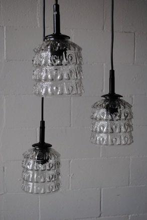 Retro Ceiling Lamp Trio Of Pressed Glass Pendant Lamps