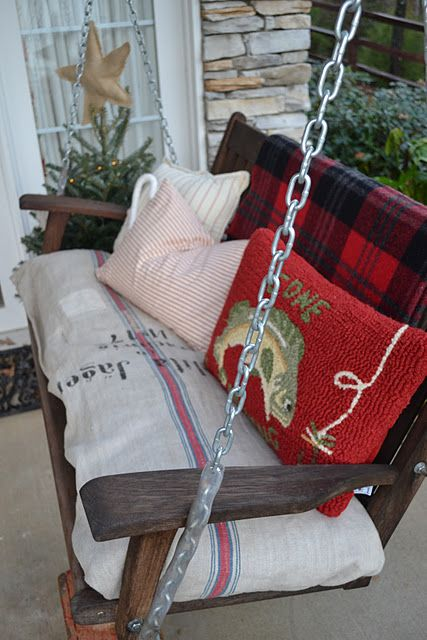swing on the cabin porch