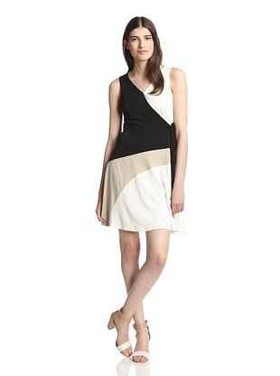 50% OFF Sandra Darren Women's Sleeveless Dress (Black/Ivory/Beige)