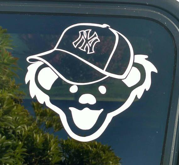 Yankees grateful dead decal jerry bear new york city baseball hat cap die cut vinyl sticker car truck bumper window custom decal