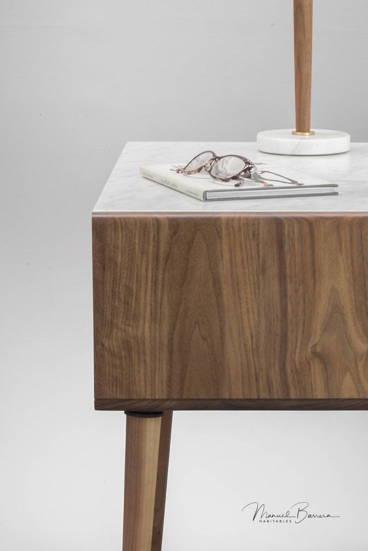 Nightstand Bedside table in solid Walnut