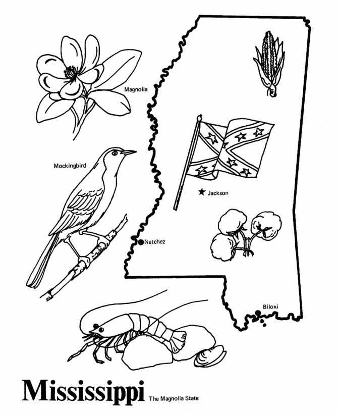 mississippi state outline coloring page
