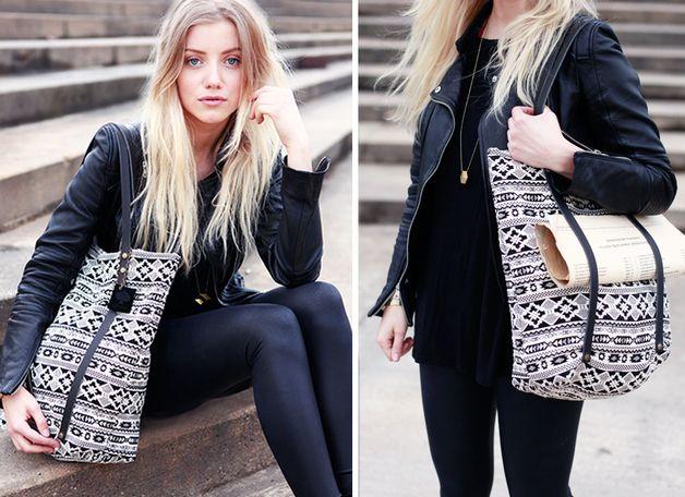 """Schultertaschen - Beutel Tasche """"Pitoo"""" Ethno Muster - schwarz weiß - ein Designerstück von pikfine bei DaWanda"""