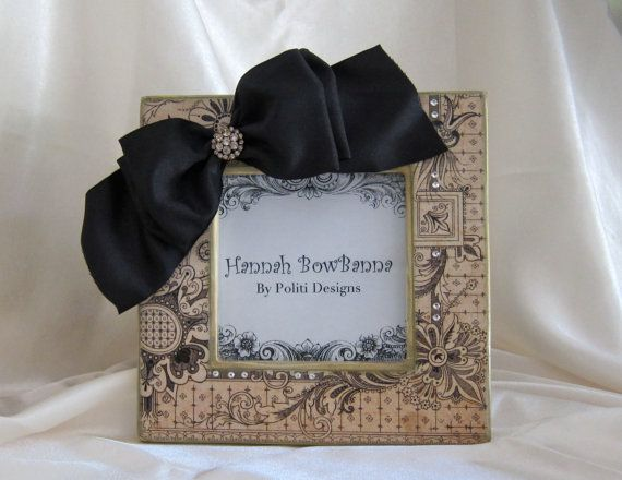 Black Ivory Gold Photo Frame Wedding Bow Bling by HannahBowBanna