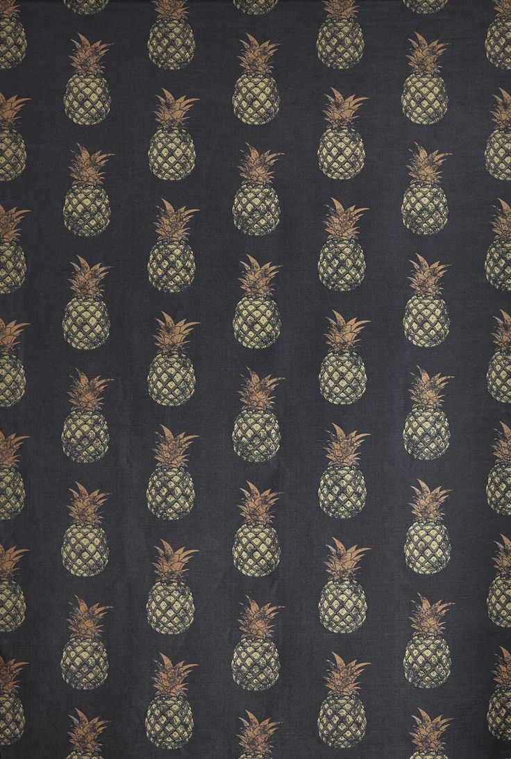 Pineapples create a really homey feel, as this fruit is often used as a symbol for hospitality. Four different styles of this fabric are printed, each giving a different feel to a room. This pattern i