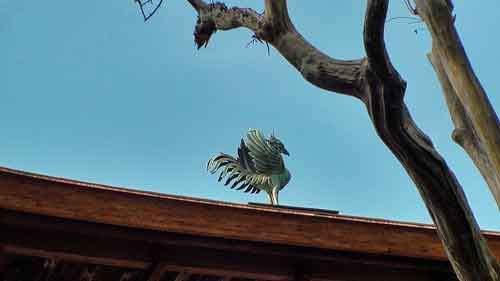 Mythical bird on the roof of Ginkakuji Temple, Kyoto, Japan.